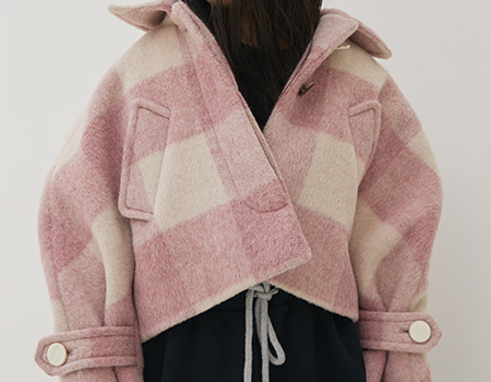 pink checkered coat